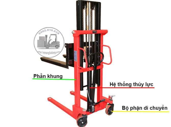 Cấu tạo xe nâng tay cao thủy lực 1 tấn nâng cao 2 mét